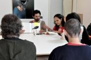 a crítica de arte Carolina Soares visita o grupo para comentar da exposição: Experimento I, realizada no sábado dia 15/10 no Hermes