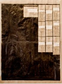 """Victor Leguy . """"Hämeenkyrö news lll"""", 2013 . série: Planos em Secção . grafite, guache, conté, nankim e colagem sobre jornal antigo (1952) . 57x 437 cm"""