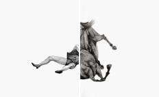 """Thais Ueda. """"Queda"""", díptico, 2011. Lápis s/ papel. 2,20 x 1,40 m"""