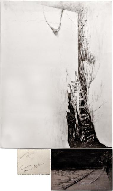 """Victor Leguy . """"Mummer Bay"""", 2012 . série: Sobre a mesa, ficou o que foi tempo. carvão, grafite, crayon, foto antiga, pedra de argila e rasgos em papel algodão . 65 x 50 cm, 23x16cm, 9x7cm (tríptico)"""