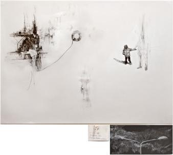 """Victor Leguy . """"Antalya / Dumlupinar"""", 2012 . série: Sobre a mesa, ficou o que foi tempo . carvão, grafite, crayon, foto antiga, pedra de argila e rasgos em papel algodão . 100 x 75 cm, 27x13cm, 9x7cm (tríptico)"""