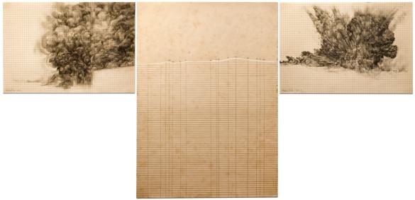"""Victor Leguy . """"Topol-M"""", 2013 . série: A Pirotecnia te fez Criador. grafite, guache, conté, carvão sobre papel ofício antigo (1959) . 42 x 100 cm (Tríptico)"""