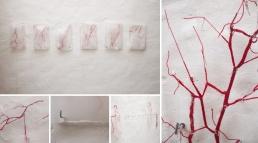 """Thais Ueda. """"Mecânica de fluidos"""", 2011. Linha e gelo. Medidas variáveis"""