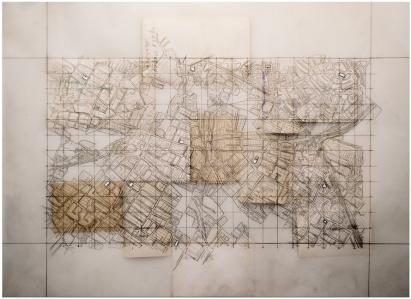 """Victor Leguy . """"Mecanismo para se converter realidades curtas"""", 2103 . série: Amálgamas . grafite, fita transparente, papel vegetal, fotografias antigas sobre papel algodão . 50 x 65 cm"""