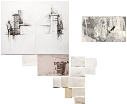 """Victor Leguy . """"Haziran"""", 2012 . série: Sobre a mesa ficou o que foi tempo . grafite, crayon, fotos antigas, pedra(usada no desgaste do papel), papel ofício antigo, papel vergê e papel algodão . 90 x 100cm (Políptico)"""