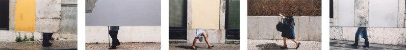"""Julia Kater . """"Horizonte"""", 2012 . recorte de fotografia impressa em papel algodão . políptico (5 colagens de 50 x 71 cm cada)"""