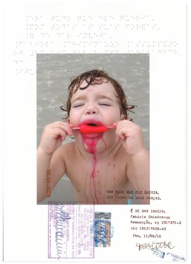 Fabiola Chiminazzo . Sem título, 2010 . série Reconhecimento . imagem fotográfica, máquina de escrever, inscrição em braile, caneta, selo e autenticação sobre papel . 21 x 29 cm