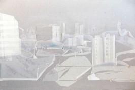 """Esther Casanova . """"Perspectivas Urbanas 3 """",2013 . colagem com fita crepe e cura corte . 35 x 50 x 3 cm"""