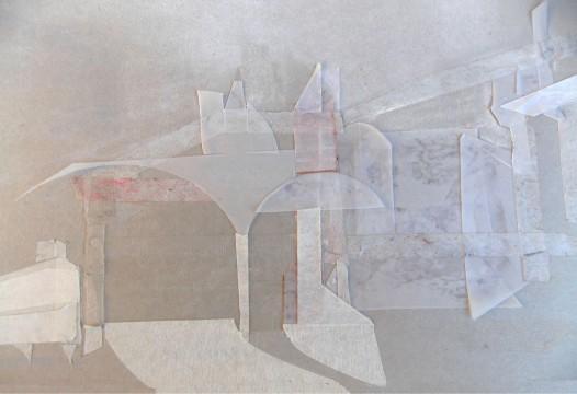 """Esther Casanova . """"Perspectivas Urbanas 5 """", 2013 . colagem com fita crepe , cura corte e papel vegetal . 24 x 35 x 3 cm"""