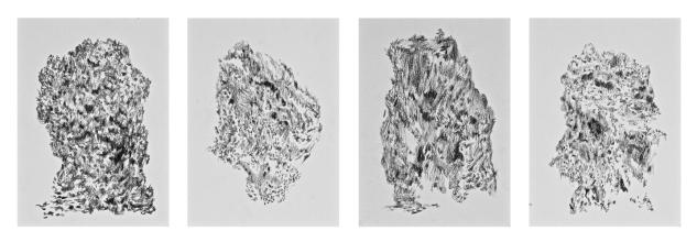 Camilo Meneghetti, Sem Título, 2012. Lápis 8B sobre papel. 20 x 14,5 cm cada, políptico