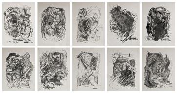 Camilo Meneghetti, Sem Título, 2012. Lápis variados e grafite sobre papel antigo. 32 x 24 cm cada, políptico