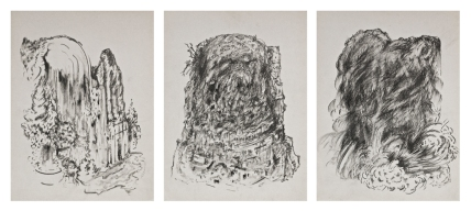 Camilo Meneghetti, Sem Título, 2012. Lápis variados e grafite sobre papel antigo. 32 x 24 cm cada, tríptico