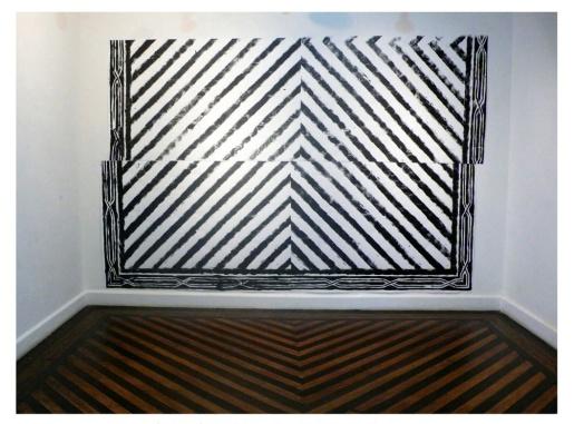 """Fábio Leão . """"Estudo para Olhar o Chão"""", 2013. Monotipia sobre papel. Site Specific. Aproximadamente 3 x 4 m"""