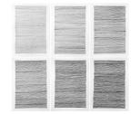 """TCHELO. """"2H/HB/2B/4B/6B/8B"""", 2013. Série: Linhas de Construção. Grafite sobre papel. 42 x 29,7 cm cada (políptico com 6 partes)"""