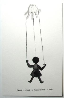 """Marcelo Amorim . """"Agora comece a movimentar a mão"""", 2013 . aguada sobre papel . 50 x 35cm"""