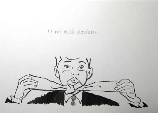 """Marcelo Amorim . """"O nó está desfeito"""" . acrílico sobre papel . 42 x 59,4 cm"""