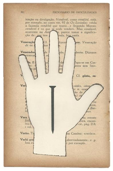 Jorde Medeiros . Sem Título, 2013, da série Dicionário de Dificuldades, Recorte e impressão jato de tinta sobre página de livro, 19,5 X 12,5 cm
