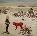 """Diana Motta . """"Vaca vermelha"""", 2012 . Óleo sobre tela . 30 x 30 cm"""