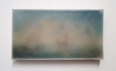 Thiago Navas, Paisagem nº1, 2016. Série Nuvem. Parafina sobre óleo sobre tela. 12x22cm