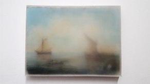 Thiago Navas, Paisagem nº3, 2016. Série Nuvem. Parafina sobre óleo sobre tela. 20,5x30,5cm
