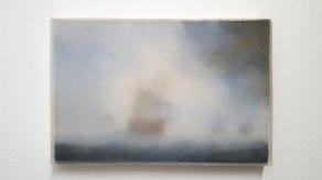 Thiago Navas, Paisagem nº4, 2016. Série Nuvem. Parafina sobre óleo sobre tela. 18x24cm