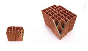 "Andrey Zignnatto . ""Desenho Estrutural #2"", 2011 . Tijolo cerâmica, folha de ouro . 28 x 13 x 40 cm"