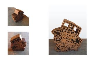 """Andrey Zignnatto . """"Empilhamento"""", 2013 . Tijolo estrutural de cerâmica – 6 peças . 60 x 45 x 15 cm"""