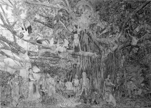 """Diana Motta . """"Festa na Árvore"""", 2014 . lápis grafite sobre papel . 80 x 100 cm"""