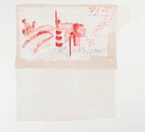 Susy Miranda Aziz . Sem título, 2013 . aquarela, carvão e lápis em papel arroz aplicado sobre linho e papel . 67 x 66 cm