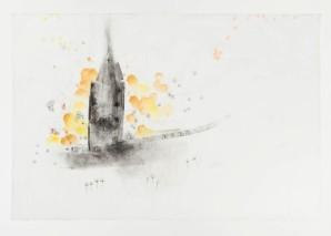 Susy Miranda Aziz . Sem título, 2013 . aquarela, carvão e lápis em papel arroz . 101,5 x 94,5 cm