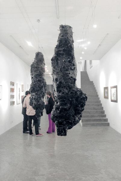 """Leonardo Stroka . """"Oitavador"""", 2013 . plástico moldado e cabo de aço . dimensões variáveis"""
