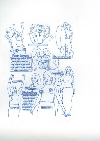 """Pedro Gallego . """"Show de Talentos nº 3"""", 2013 . desenho sobre papel carbono . 42 x 30 cm"""