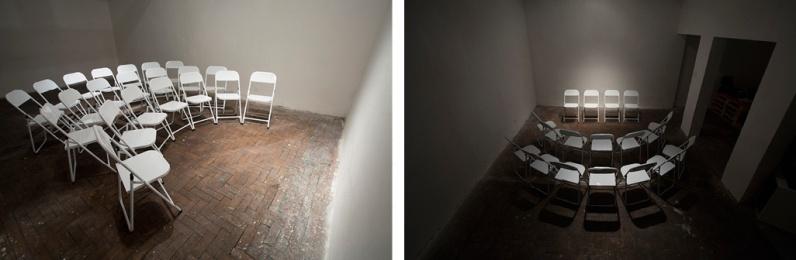 """Pedro Gallego . """"E foram escolhidos quatro membros para representar o grupo"""", 2013 . série Instrumentos preparados . fotografia . 80 x 120 cm cada, díptico"""