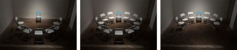 """Pedro Gallego . """"Todos uniram esforços para apresentar uma solução"""", 2013 . série: Instrumentos preparados . fotografia . 80 x 120 cm cada, tríptico"""