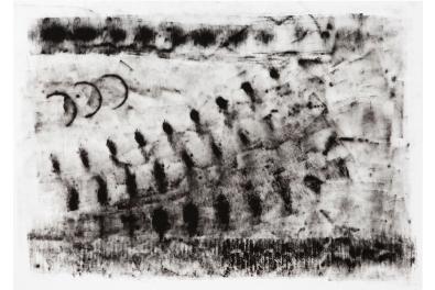 Fernanda Carvalho . Sem título 04, 2013 . série: Vestígio . monotipia-frotagem, tinta óleo sobre papel . 70 x 100 cm