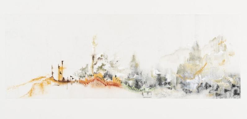 Susy Miranda Aziz, Sem título, 2014. Acrílica, aquarela, carvão, cera e lápis sobre papel arroz. 32,5 x 90 cm