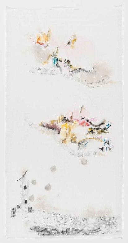 Susy Miranda Aziz, Sem título, 2014. Acrílica, aquarela, carvão e lápis sobre papel arroz. 70 x 36 cm