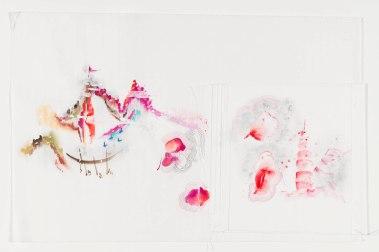 Susy Miranda Aziz, Sem título, 2013. Aquarela, carvão, cera, lápis e linha sobre papel arroz. 40,5 x 62 cm