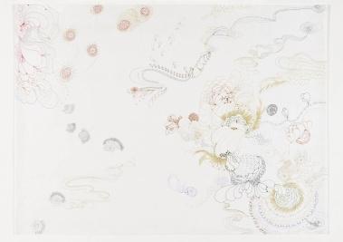 Susy Miranda Aziz, Sem título, 2014. Caneta e lápis sobre papel arroz. 71 x 94 cm