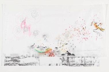 Susy Miranda Aziz, Sem título, 2013. Aquarela, carvão, cera, lápis, linha e alfinetes sobre papel arroz. 59,5 x 98 cm