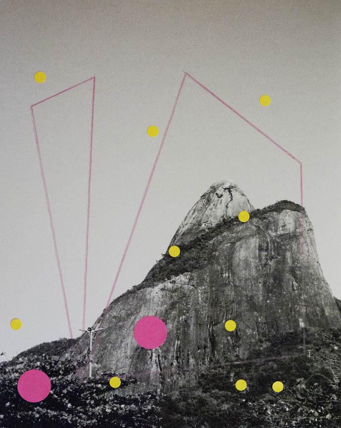 Alice Quaresma . Nest #24, 2014 . Série: Nest . Lápis e adesivo colorido sobre fotografia . 25 x 20 cm