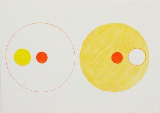 Alice Quaresma . Study B #11, 2014 . Série: Study B . Desenho no papel Canson com caneta colorida e adesivo . 13 x 18 cm