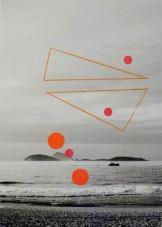 Alice Quaresma . Nest #15, 2014 . Série: Nest . Lápis e adesivo colorido sobre fotografia . 18 x 13 cm