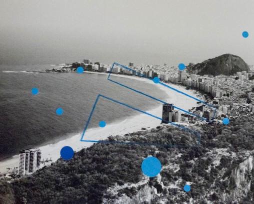 Alice Quaresma . Nest #23, 2014 . Série: Nest . Lápis e adesivo colorido sobre fotografia . 20 x 25 cm