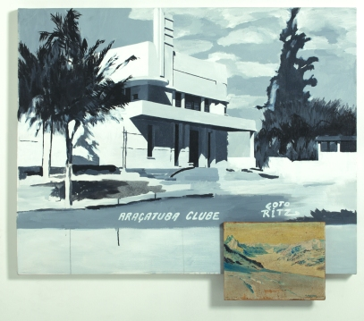 """Cida Junqueira . """"Araçatuba I"""", 2013 . Acrílica sobre tela e apropriação de óleo sobre tela de A. Salvador, 1946 . 104 X 120 cm . foto Carlos Cubi"""