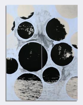 Cida Junqueira, Sem Título, 2015, tinta vinílica sobre papel fotográfico em apropriação de foto, 60 X 80,2 cm