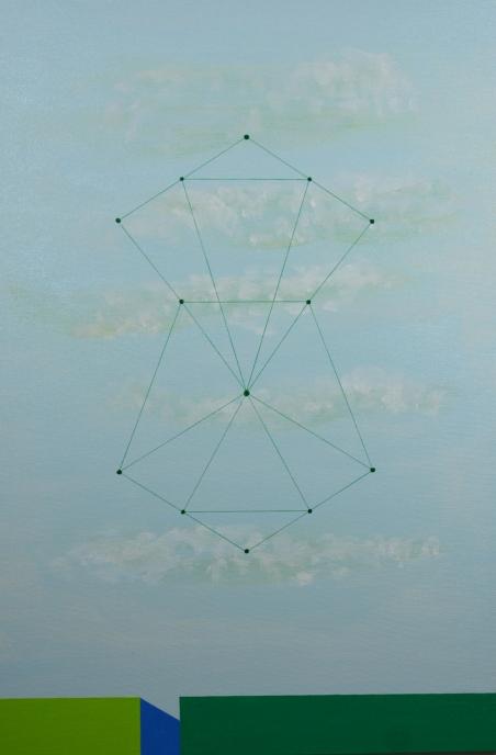 Carlos Medina, Redes neurais #005, 2016. Série: Redes neurais simétricas. Acrílico e caneta sobre tela. 60x40cm. Exposto no 23 Salão de Artes Visuais da Praia Grande, Praia Grande, SP, 2016