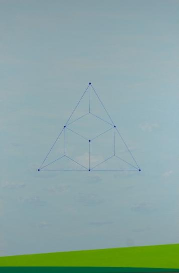 Carlos Medina, Redes neurais #002, 2016. Série: Redes neurais simétricas. Acrílico e caneta sobre tela. 60x40cm