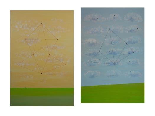 Carlos Medina, Redes neurais #004, 2016. Acrílico sobre tela. 60x40cm (cada). 62x85cm conjunto montado. Exposto no SAV 2016, Salão de Artes Visuais de Vinhedo, Vinhedo, SP, 2016
