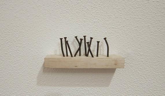"""Jorge Medeiros . """"Pregos"""", 2014 Pregos e madeira. tamanhos variáveis"""